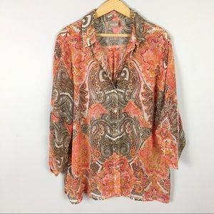 Chico's Sheer Paisley Button Down Top Sz 3